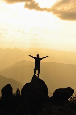 Silhouette of man in mountain  Conceptual scene