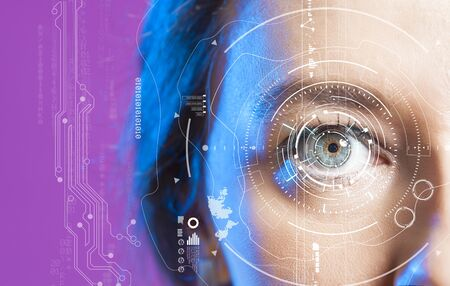 Photo for Young woman's eye and high-tech concept, augmented reality display, Iris verification, wearable computing - Royalty Free Image