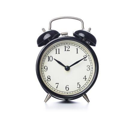 Photo pour Retro alarm clock on isolated white background - image libre de droit