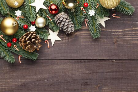 Photo pour Christmas or New Year decoration on wooden background and space for a text - image libre de droit