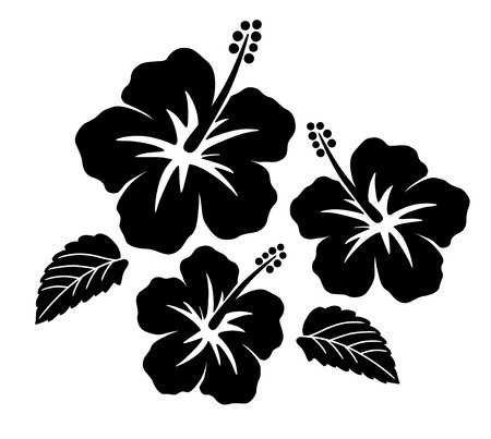 Illustration for Hibiscus icon set - Royalty Free Image
