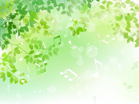 Illustration pour Green leaf and music note sunbeam image - image libre de droit