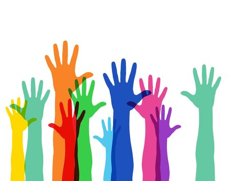 Illustration for Illustration of a crowd raising hands - Royalty Free Image