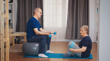 Photo for Senior couple in living room doing physical training on yoga mat and stability ball. Old person healthy lifestyle exercise at home, workout and training, sport activity at home - Royalty Free Image