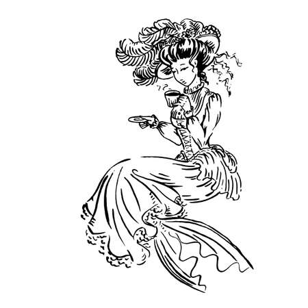 Historical Fashion 'Regency' Printable Coloring Page - Coloring ... | 450x450