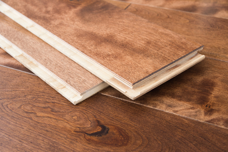 Photo for Wooden flooring parquet boards click locking - Royalty Free Image