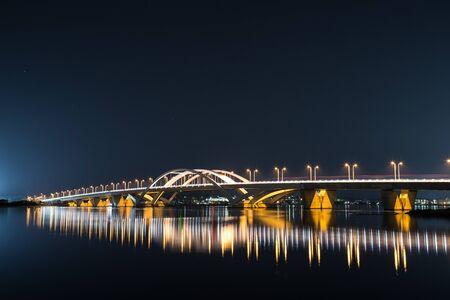 Photo pour Sea night view of Shiga Island in Fukuoka City, Fukuoka Prefecture - image libre de droit