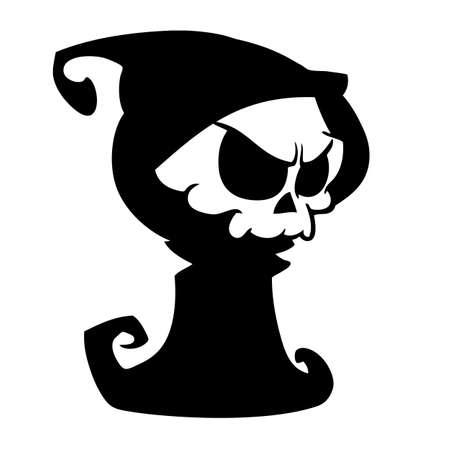 Illustration pour Cartoon grim reaper with scythe  isolated on a white background. Halloween cute death character in black hood outline. Vector silhouette - image libre de droit