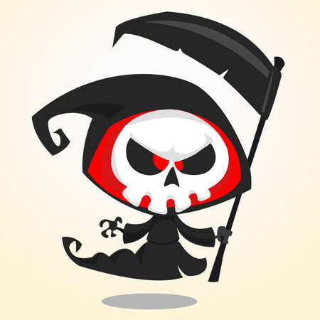 Illustration pour Cute cartoon grim reaper with scythe isolated on white. Cute Halloween skeleton death character icon - image libre de droit