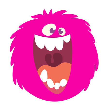 Illustration pour Happy cartoon pink monster head smiling with a big mouth. Vector  illustration for Halloween - image libre de droit