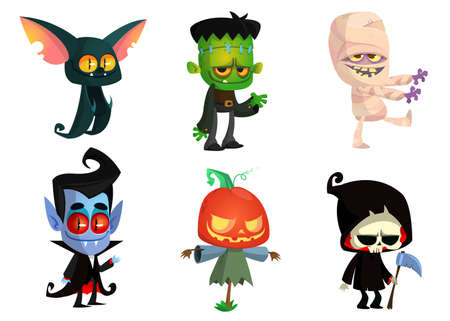Illustration pour Set of Halloween characters. Vector mummy, zombie, vampire,  bat, death grim reaper, pumpkin head. Great for party decoration or sticker - image libre de droit