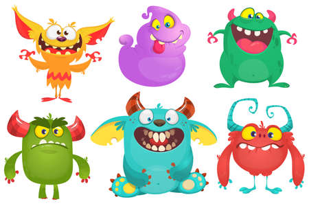Illustration pour Cartoon Monsters collection. Vector set of cartoon monsters isolated. Design for print, party decoration, t-shirt, illustration, logo, emblem or sticker - image libre de droit