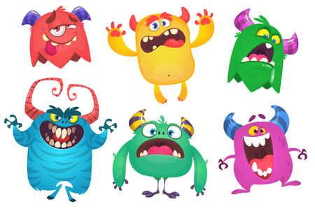 Illustration for Cartoon Monsters. Vector set of cartoon monsters isolated. Design for print, party decoration, t-shirt, illustration, logo, emblem or sticker - Royalty Free Image