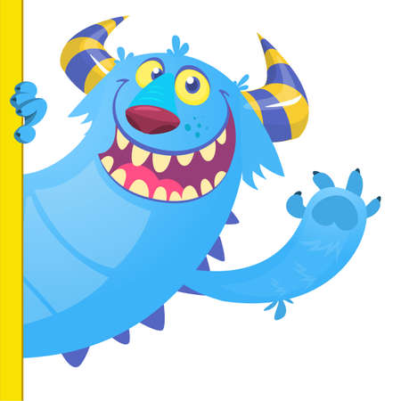 Illustration for Cute Little Monster Cartoon Character Holding A Blank Sign. Vector Illustration Isolated On White Background - Royalty Free Image
