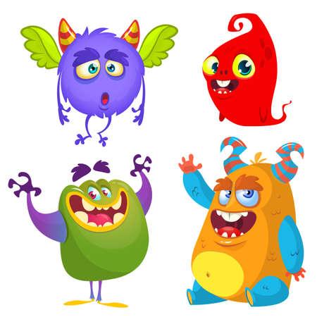 Illustration pour Cute cartoon Monsters. Set of cartoon monsters: ghost, goblin, bigfoot yeti, troll, dragon and alien . Halloween design - image libre de droit