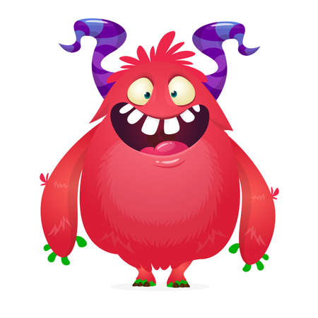 Illustration pour Cartoon red furry monster. Halloween vector illustration of excited monster - image libre de droit