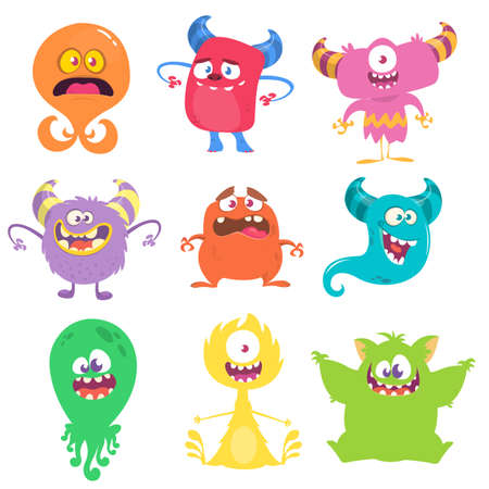 Illustration for Funny cartoon creatures. Set of cartoon vector monsters. Halloween design - Royalty Free Image