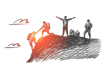 Illustration pour Vector hand drawn teamwork concept sketch with alpinist helping with hand another climber to reach mountain top and two people awaiting for them - image libre de droit