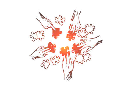 Illustration pour Strategy, team, teamwork, tactics concept. Hand drawn human hands with puzzles concept sketch. Isolated vector illustration. - image libre de droit