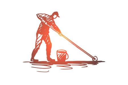 Illustration pour Waterproofing, drop, protection, wet, surface concept. Hand drawn repairman making a waterproof surface concept sketch. Isolated vector illustration. - image libre de droit
