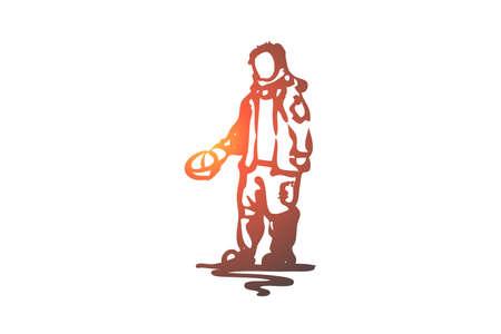 Illustration pour Beggar, poor, dirty, problem, tramp concept. Hand drawn beggar asking for money concept sketch. Isolated vector illustration. - image libre de droit