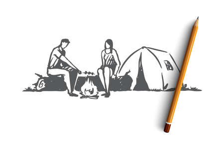 Tourists, tent, fire, camp, nature concept. Hand drawn man and woman neat tent in camp concept sketch. Isolated vector illustration.