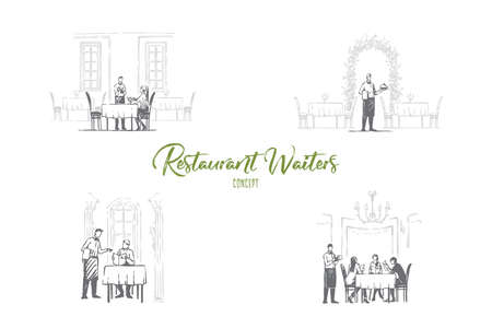 Illustration pour Restaurant waiters - waiters in restaurants getting orders and bringing food vector concept set. Hand drawn sketch isolated illustration - image libre de droit