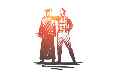 Father, son, student, university, graduation concept. Hand drawn father and son at graduation concept sketch. Isolated vector illustration.