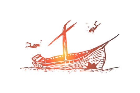 Illustration pour Underwater, boat, seabed, ship, diving concept. Hand drawn sunken ship on the seabed concept sketch. Isolated vector illustration. - image libre de droit