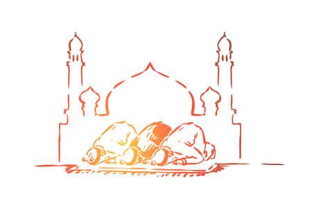 Illustration pour Muslim people fasting, traditional islamic holiday celebration, arabic religion and culture, arab architecture. Ramadan, prayers kneel, eid mubarak concept sketch. Hand drawn vector illustration - image libre de droit