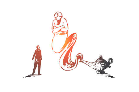 Wish fulfillment, fairytale concept sketch. Businessman summoned genie with magical lamp, arabian mythical creature, traditional eastern fairy tale, fantasy story. Hand drawn isolated vector