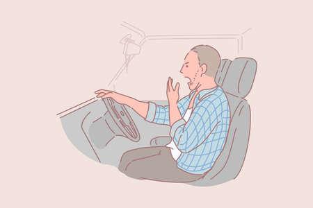 Ilustración de Sleepy, drunk, tired, truck driver concept - Imagen libre de derechos