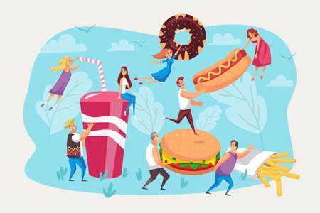 Illustration pour Fast food, hunger, meal set. - image libre de droit