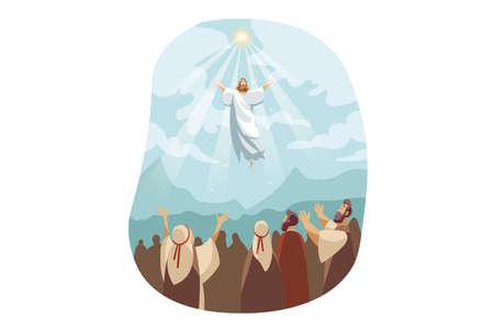 Illustration pour Ascension of Jesus Christ, Bible concept - image libre de droit