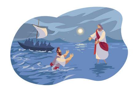 Illustration pour Jesus walks on water, Bible concept - image libre de droit