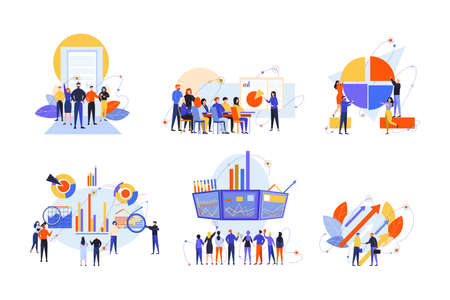 Illustration pour Stock trading, stakeholder, investment, analysis, business set concept. Business people, businessmen women traders stakeholders on stock market. Money investment, stock analysis. Teamwork, training. - image libre de droit