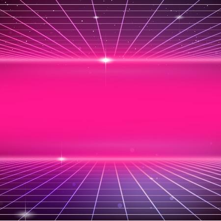 Illustration pour 80s Retro Sci-Fi Background - image libre de droit