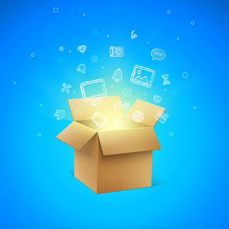 Cardboard Box with Icons vector illustration