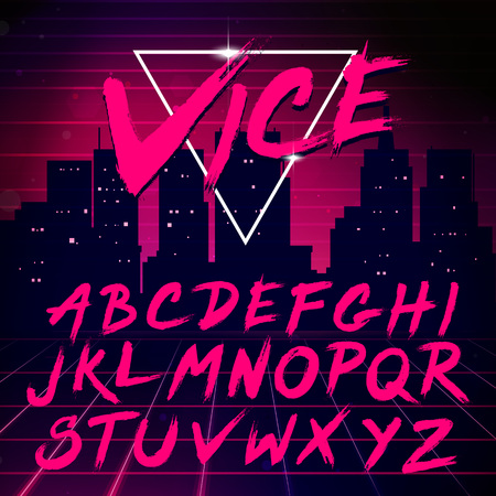 Foto de 80s Retro Futurism style Font. Vector Brush Stroke Alphabet - Imagen libre de derechos