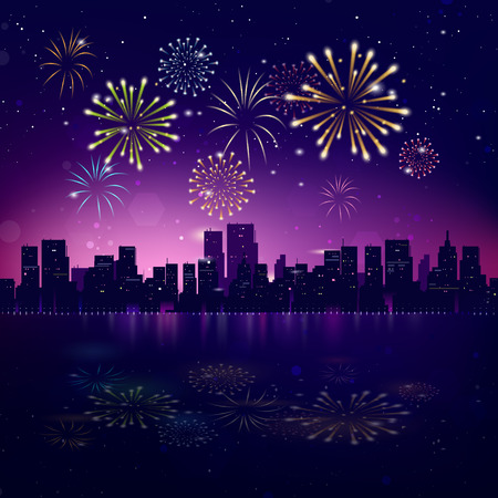 Illustration pour Night City Skyline with Fireworks. Vector Holiday Cityscape Background - image libre de droit