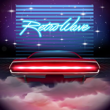 80s Retro Sci-Fi Background  Vector futuristic synth retro