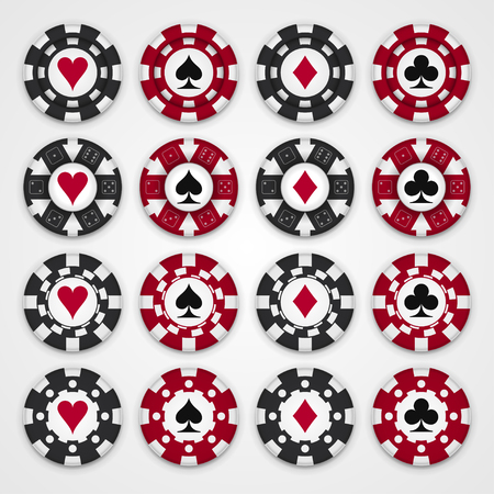 Nice set of casino gambling chips, four design types of chips