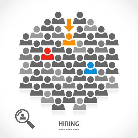 Foto de Concept of hiring new vacancy. It is very hard to find a chosen one good worker. - Imagen libre de derechos