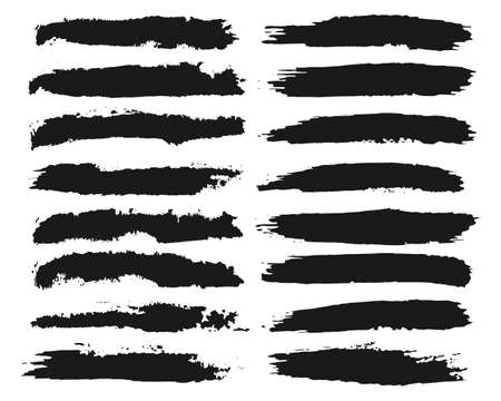 Illustration for Black hand painted grunge brush strokes collection - Royalty Free Image