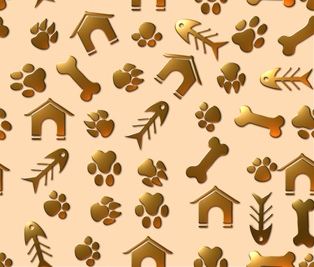 Pet theme seamless pattern with animal paw footprints, fish bones, pet houses and bones