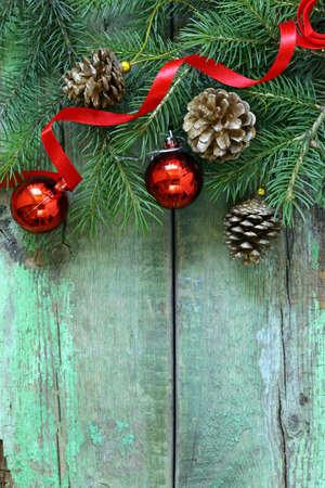 Photo pour Christmas composition with fir twigs and holidays decorations - image libre de droit