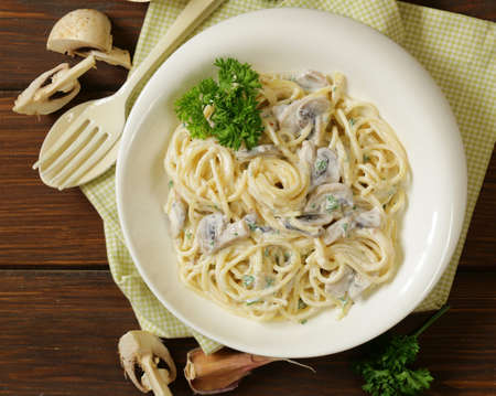 pasta carbonara with mushrooms, garlic and parsley