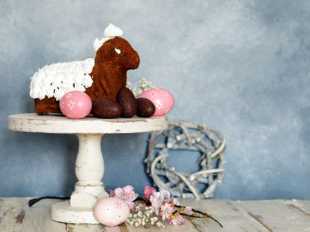 Photo for festive baking cake decorated eggs for Easter - Royalty Free Image