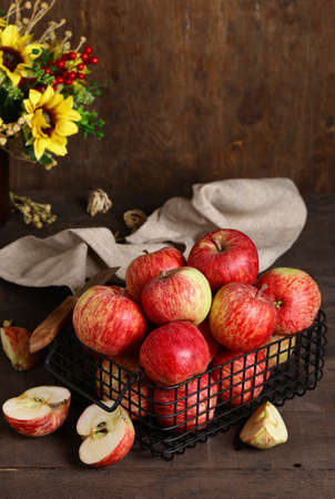 Photo for red ripe organic apples on a wooden table - Royalty Free Image