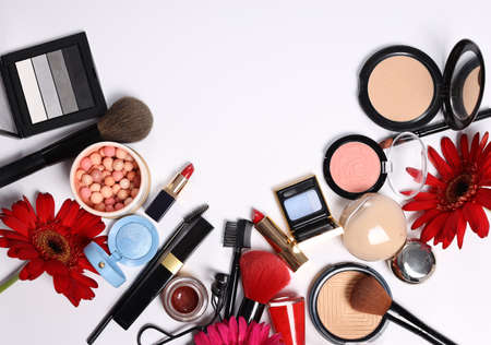 Photo for assortment of cosmetics for makeup lipstick powder eye shadow - Royalty Free Image